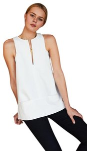 Emerson Fry Sleeveless Classic Preppy Chic Summer Top White