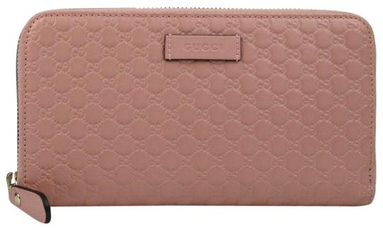 df4f6798bc7516 Gucci Light Pink Leather Micro Gg Guccissima Zip Around 449391 5806 Wallet
