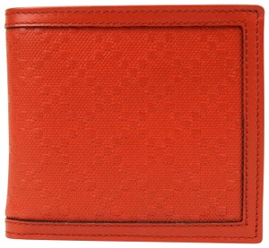 389d3aa1a5b5 Gucci Red Orange Diamante Leather Bi-fold Wallet w/coin Pocket 237359 6516
