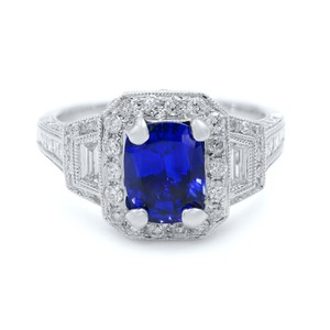 Gavriel's Jewelry Cushion Cut Sapphire 1.70ct Vintage Inspired Diamond Ring 18KW