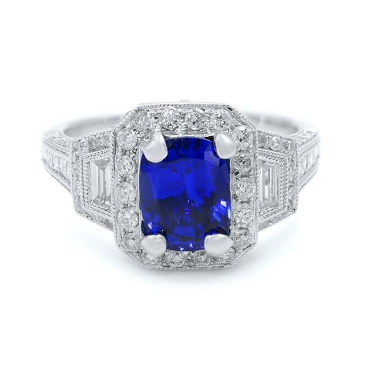 Preload https://img-static.tradesy.com/item/25149442/gavriel-s-jewelry-blue-cushion-cut-sapphire-170ct-vintage-inspired-diamond-18kw-ring-0-0-540-540.jpg