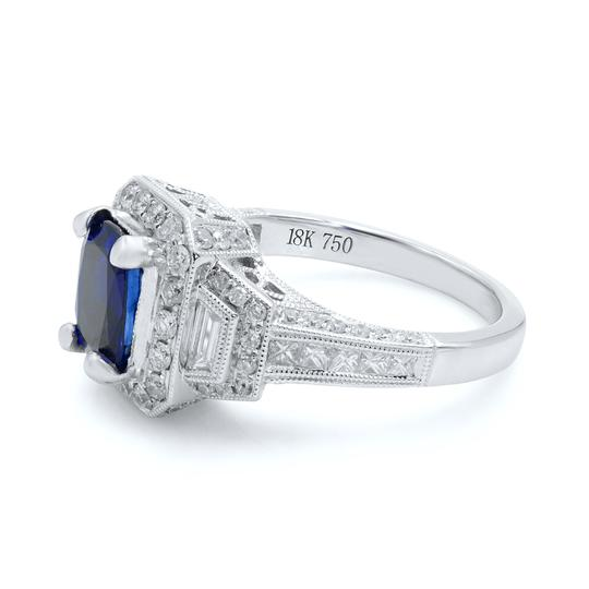 Gavriel's Jewelry Cushion Cut Sapphire 1.70ct Vintage Inspired Diamond Ring 18KW Image 1