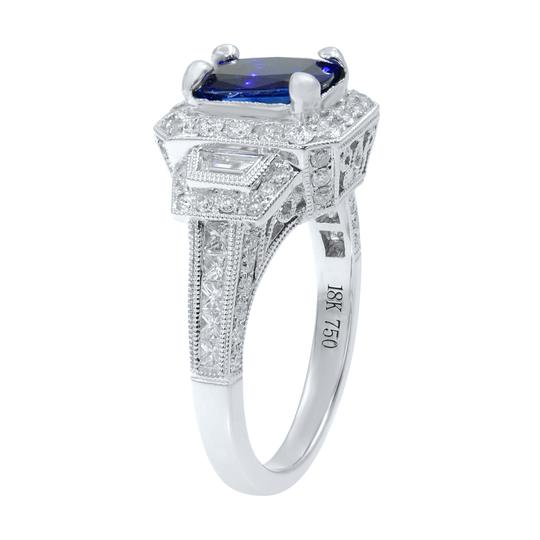 Gavriel's Jewelry Cushion Cut Sapphire 1.70ct Vintage Inspired Diamond Ring 18KW Image 2