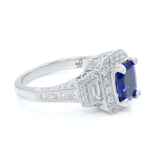 Gavriel's Jewelry Cushion Cut Sapphire 1.70ct Vintage Inspired Diamond Ring 18KW Image 4