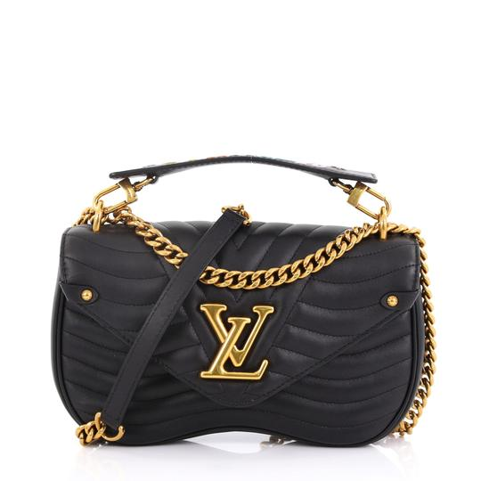 ce3f33cb488d Louis Vuitton New Wave Chain Quilted Mm Black Leather Shoulder Bag ...