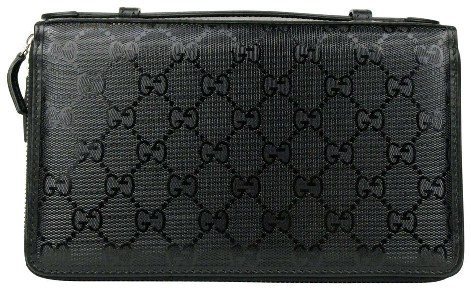 63732bfde9bb Gucci Black Impreme GG Guccissima Double Zip Travel Wallet 336298 1000  Image 0 ...