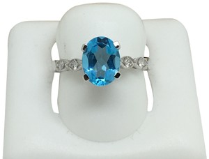 other 14K White Gold Natural Diamond and Blue Topaz Ring