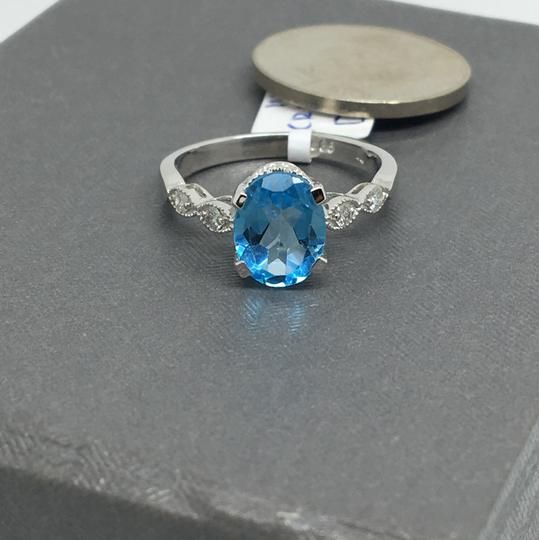 other 14K White Gold Natural Diamond and Blue Topaz Ring Image 1