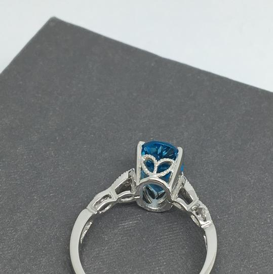 other 14K White Gold Natural Diamond and Blue Topaz Ring Image 3