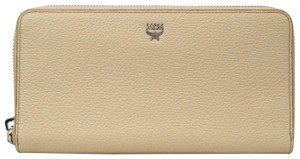 MCM Women's Beige Leather Zip Around Wallet w/logo MYL8SMA04IA001