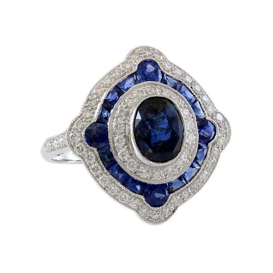 Other 18K White Gold Diamond and Sapphire Halo Estate Ring Image 0