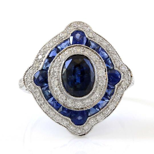 Other 18K White Gold Diamond and Sapphire Halo Estate Ring Image 1