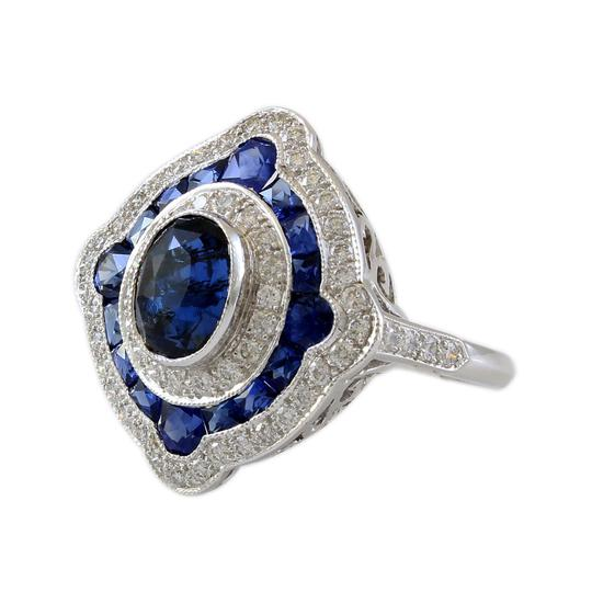 Other 18K White Gold Diamond and Sapphire Halo Estate Ring Image 2