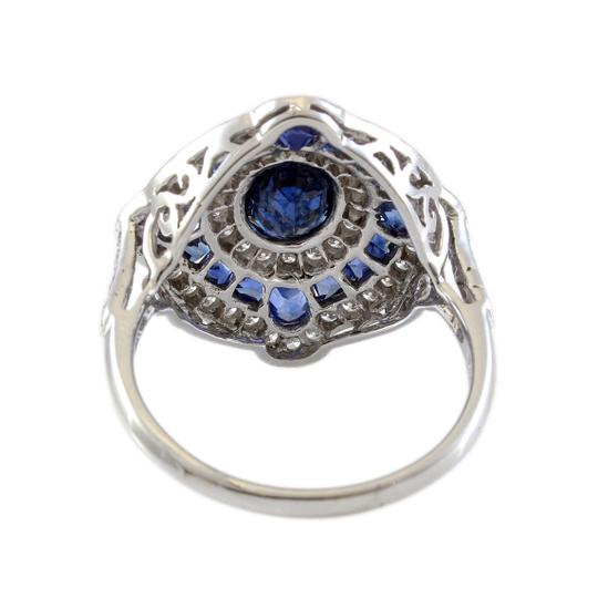 Other 18K White Gold Diamond and Sapphire Halo Estate Ring Image 3