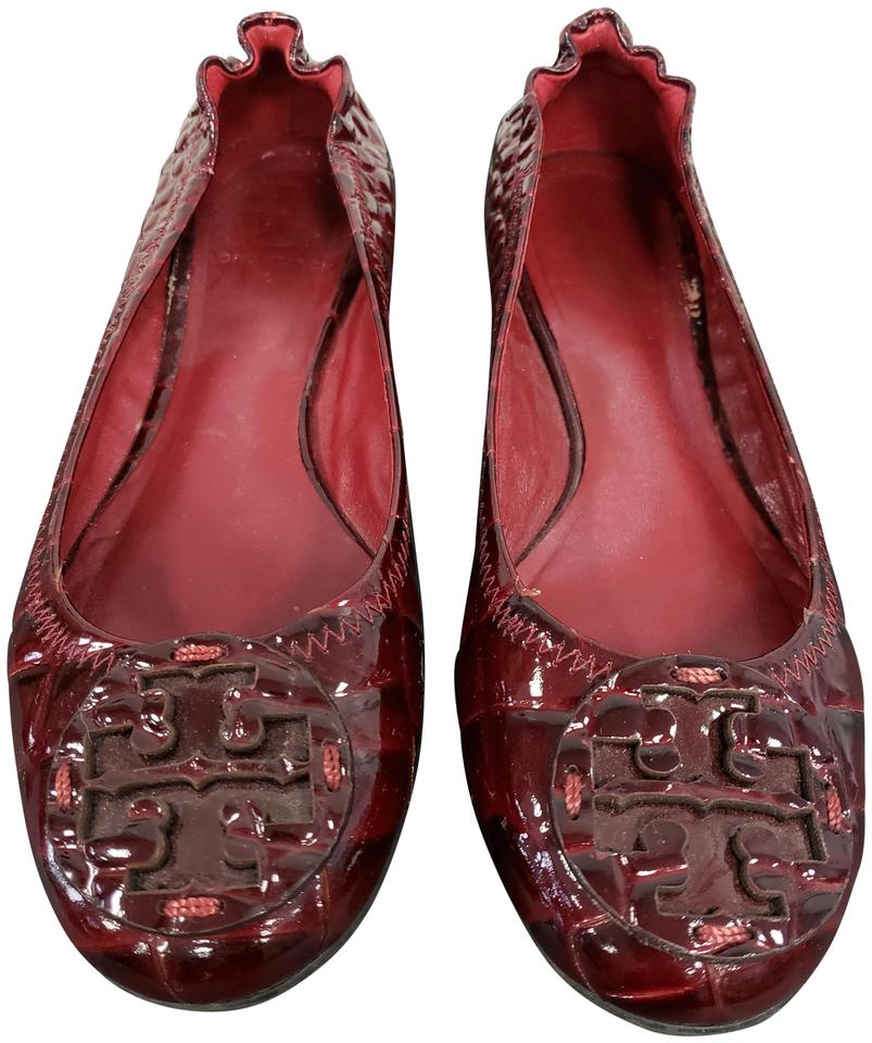 f9afe27d3 Tory Burch Dark Red Reva In Burgundy Croc Pattern Flats Size US 6.5 ...
