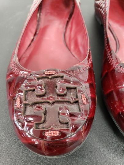 Tory Burch #revaflat #crocpattern #burgundy Dark Red Flats Image 4