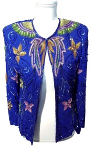 EVES ALLURE Vintage 80's Sparkle Floral Beaded Top Blue with multi colors
