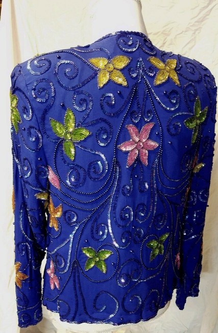 EVES ALLURE Vintage 80's Sparkle Floral Beaded Top Blue with multi colors Image 2