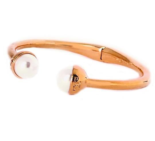 Tory Burch Brand New Tory Burch Logo Bead Hinged Cuff Bracelet Ivory Pearl Bud Image 1