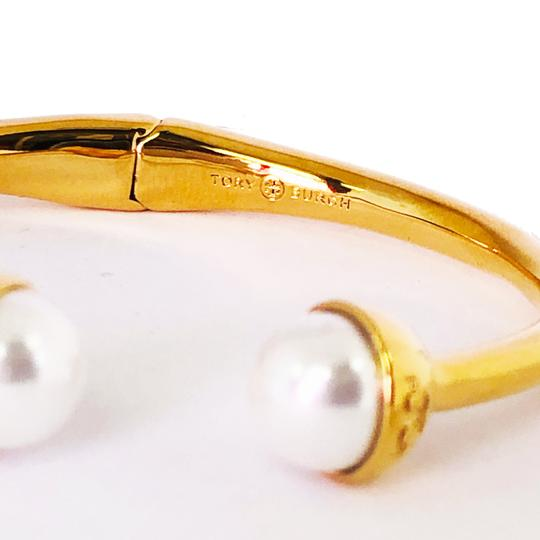 Tory Burch Brand New Tory Burch Logo Bead Hinged Cuff Bracelet Ivory Pearl Bud Image 4