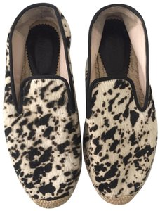 ElyseWalker Los Angeles Black and Cream/ Calf hair Flats