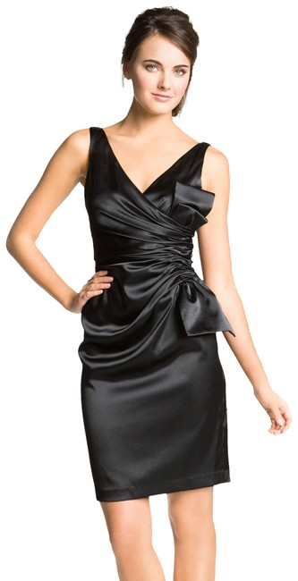 Item - Black New Bow Stretch Satih Short Cocktail Dress Size 6 (S)