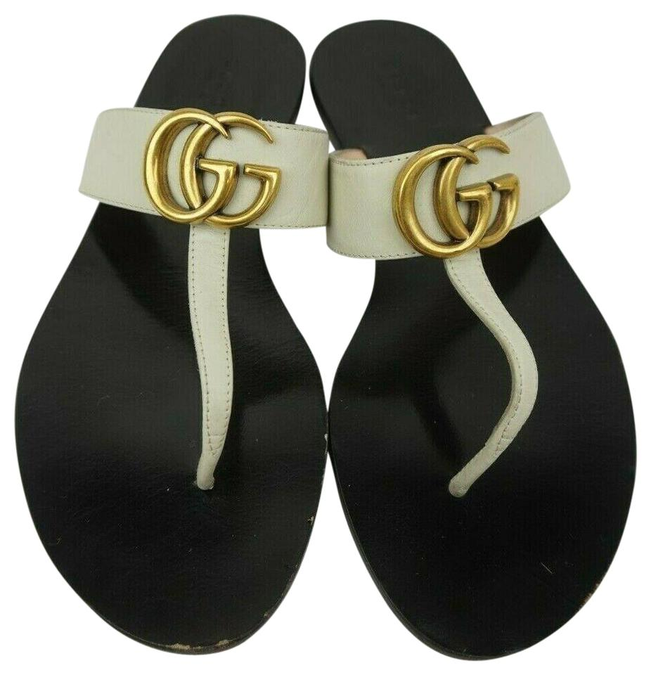 057897c0c Gucci White Marmont Double G Gg Leather Women's Sandals Size EU 37.5 ...