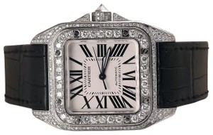 Cartier Cartier Santos 100 Chronograph Stainless Steel Iced Out Watch W20073X8