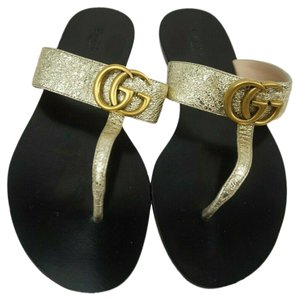 b1cceadb6609a Gucci Gold Marmont Double G Gg Leather Women's Sandals Size EU 36 ...