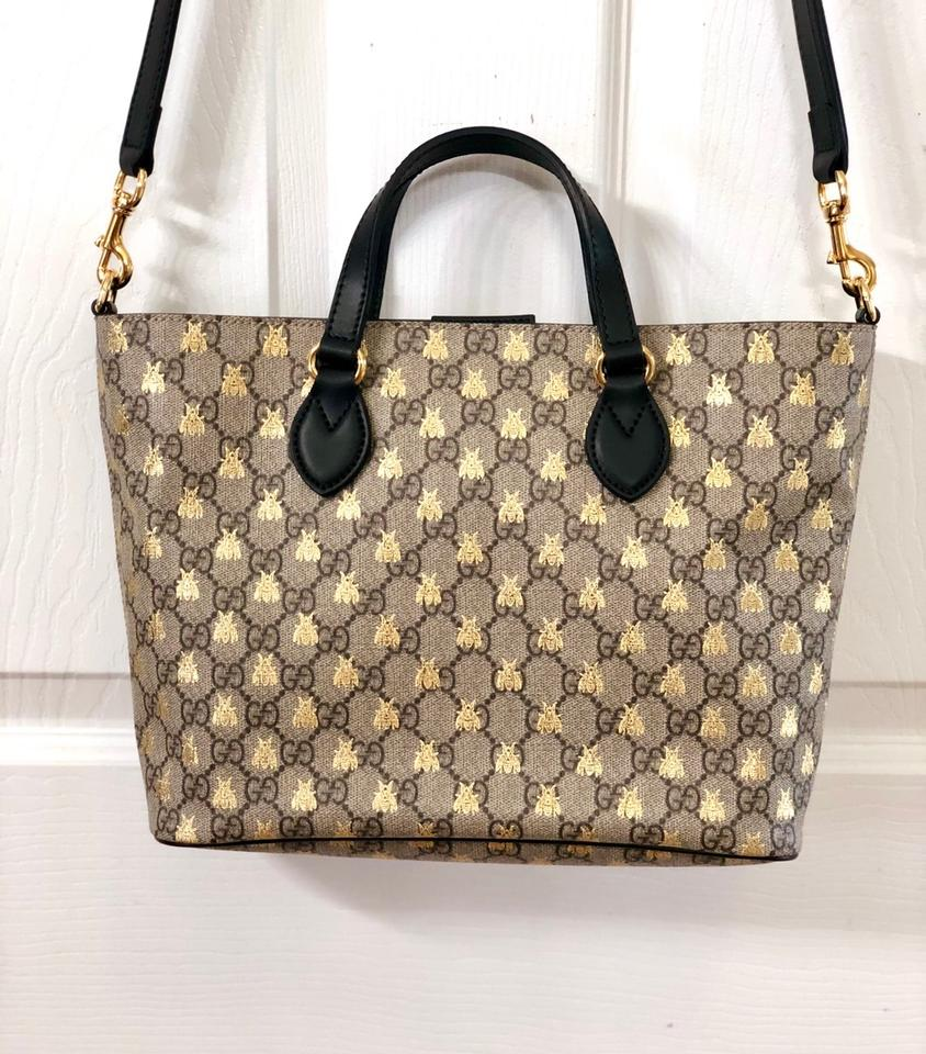 8db836f9750 Gucci Supreme Beige Black Gold Bees Coated Canvas Tote - Tradesy