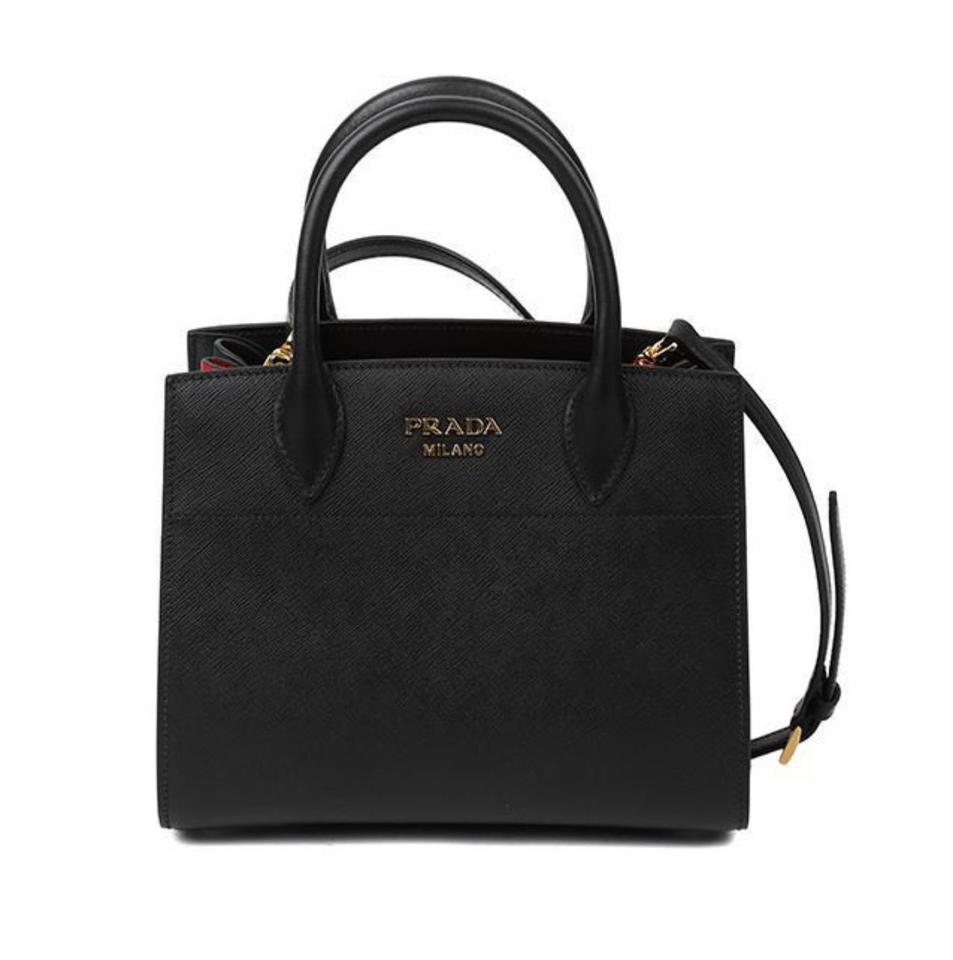 d421d8a7608e Prada Bibliothèque Saffiano City C Black Red Leather Tote - Tradesy