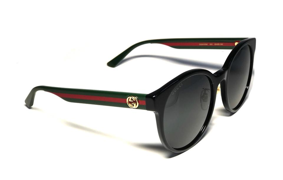 85a237d4e4a5 Gucci Black Green and Red Sides Style Gg0416sk 001 - Free Shipping Large  Round Sunglasses