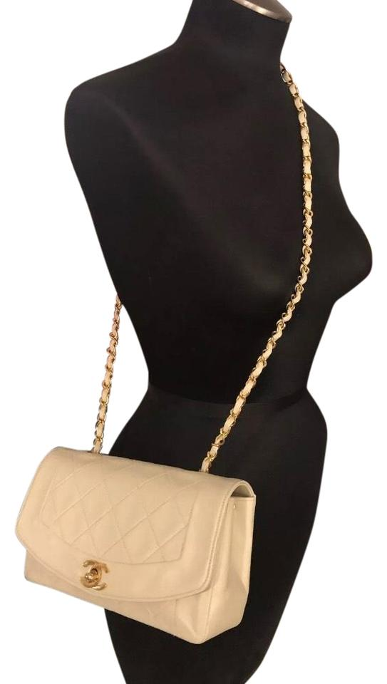 664feecbfbac3a Chanel Diana Single Flap Beige Lambskin Leather Cross Body Bag - Tradesy