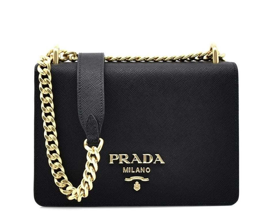 a673df569ebda4 Prada Pattina Cross Body Black with Golden-tone Chain Saffiano Leather Shoulder  Bag
