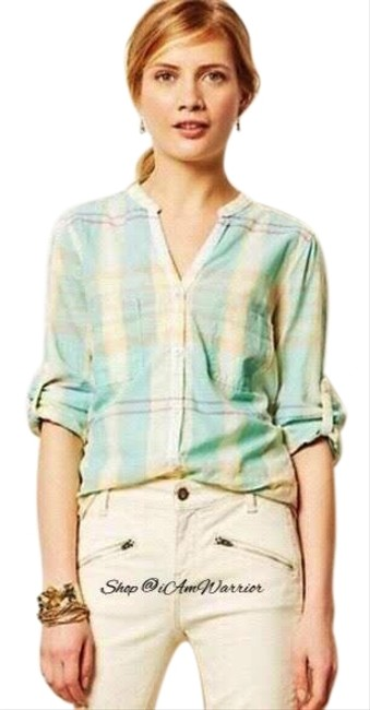 Item - Aqua Multi Holding Horses Plaid Roll-up Sleeve Button-down Top Size 4 (S)