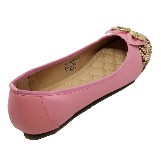 Victoria K Buckle Bow Driveable Ballerina Pink Flats Image 2
