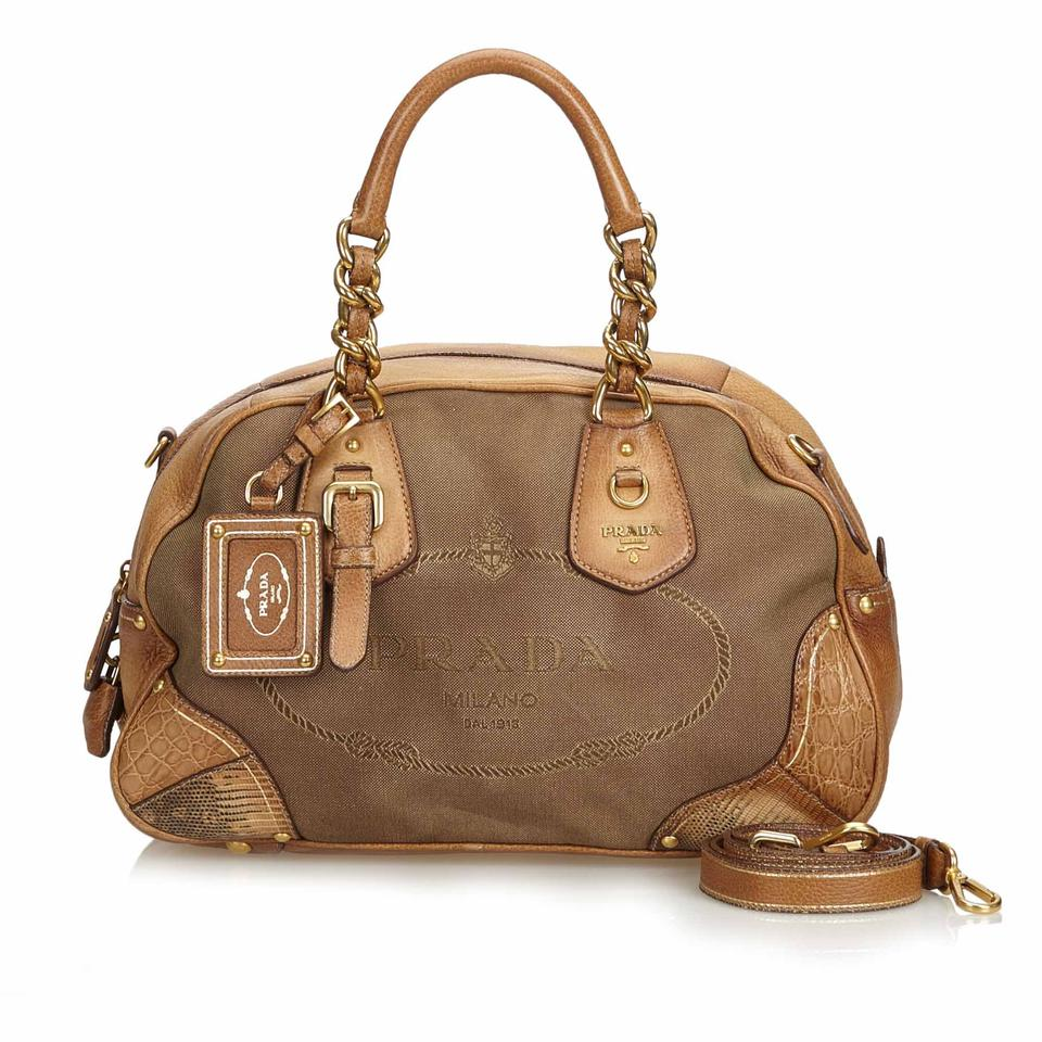 800bbc6ba59e38 Prada Canapa W Jacquard Fabric Italy Dust Brown Blend Leather Satchel