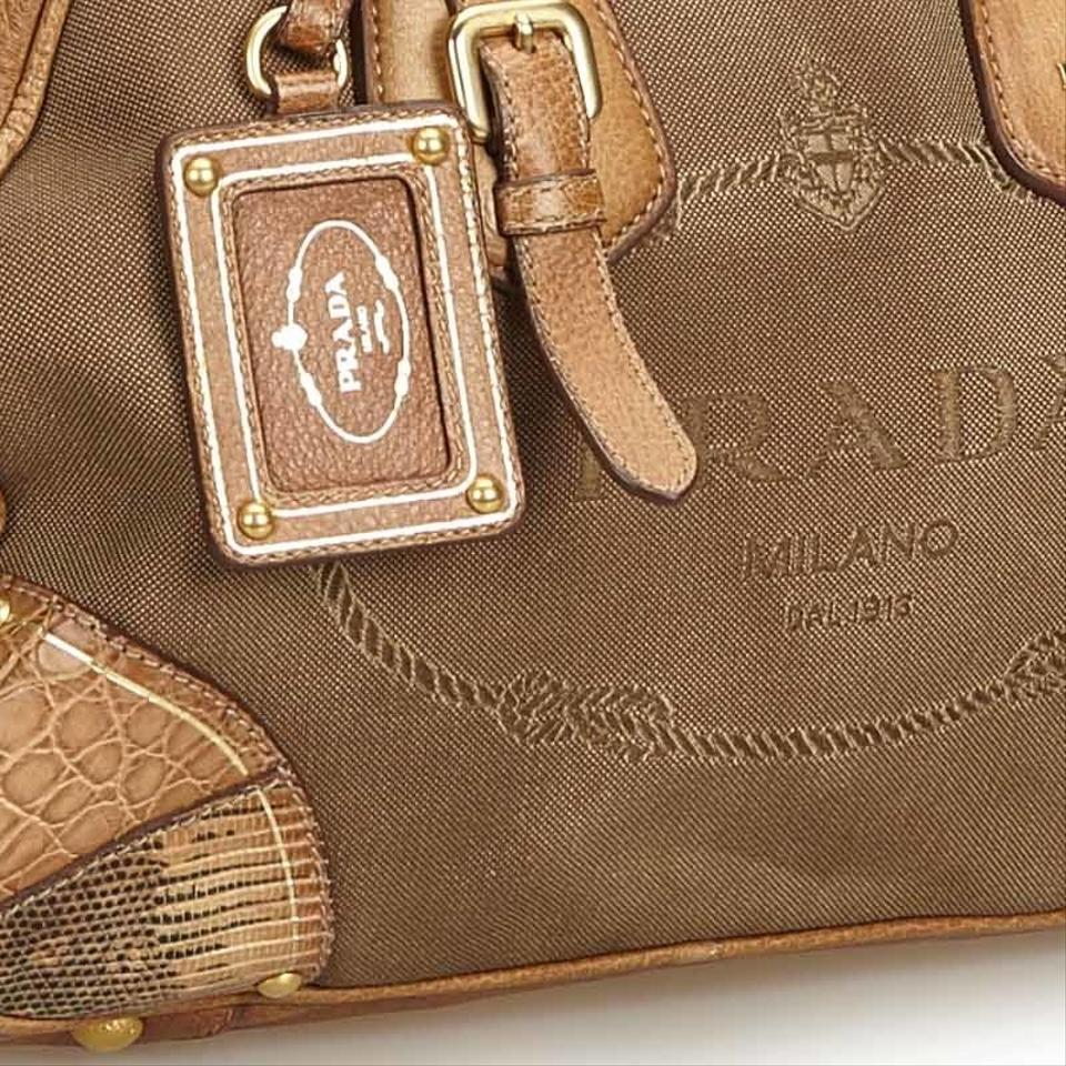 db72411d0d8bdb Prada Canapa W Jacquard Fabric Italy Dust Brown Blend Leather ...