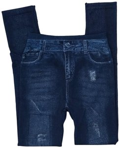 Other Jean High Rise Jeans Jean Print Dark Wash Denim Faux Denim Blue Leggings