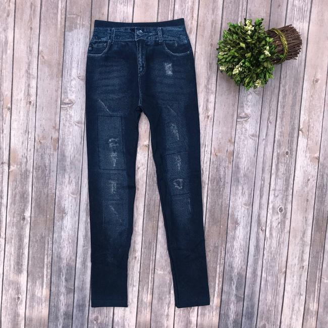 Other Jean High Rise Jeans Jean Print Dark Wash Denim Faux Denim Blue Leggings Image 1