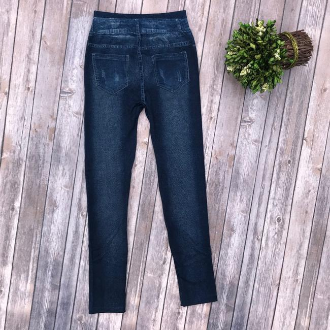 Other Jean High Rise Jeans Jean Print Dark Wash Denim Faux Denim Blue Leggings Image 3