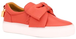 Buscemi Made In Italy Luxury Designer Padlock Bow Skate Sneaker Red Orange (Parma) Flats