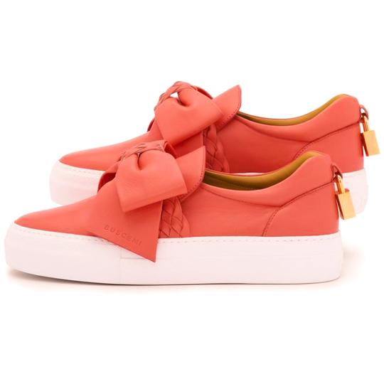 Buscemi Made In Italy Luxury Designer Padlock Bow Skate Sneaker Red Orange (Parma) Flats Image 4