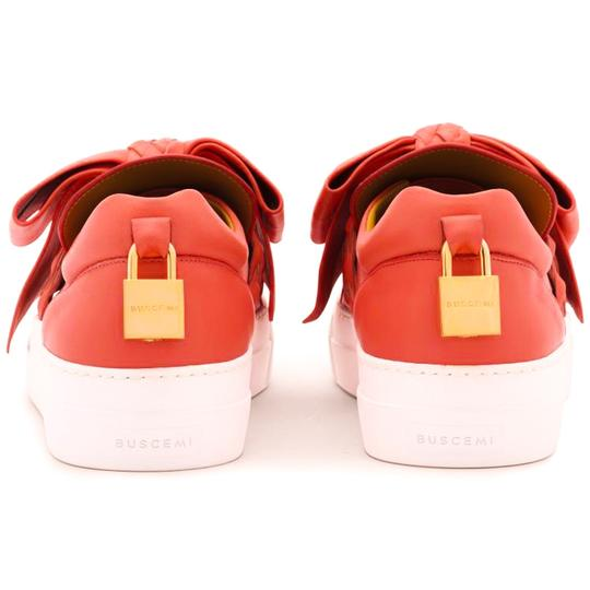 Buscemi Made In Italy Luxury Designer Padlock Bow Skate Sneaker Red Orange (Parma) Flats Image 6