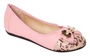 Victoria K Buckle Bow Driveable Ballerina Pink Flats