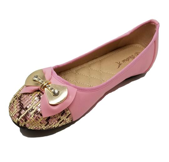 Victoria K Buckle Bow Driveable Ballerina Pink Flats Image 1