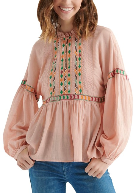 Preload https://img-static.tradesy.com/item/25151388/lucky-brand-peach-embroidered-peasant-blouse-size-4-s-0-1-650-650.jpg