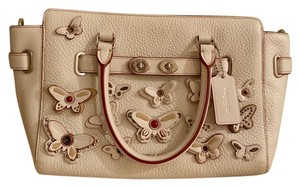 Coach Satchel in silver and cream