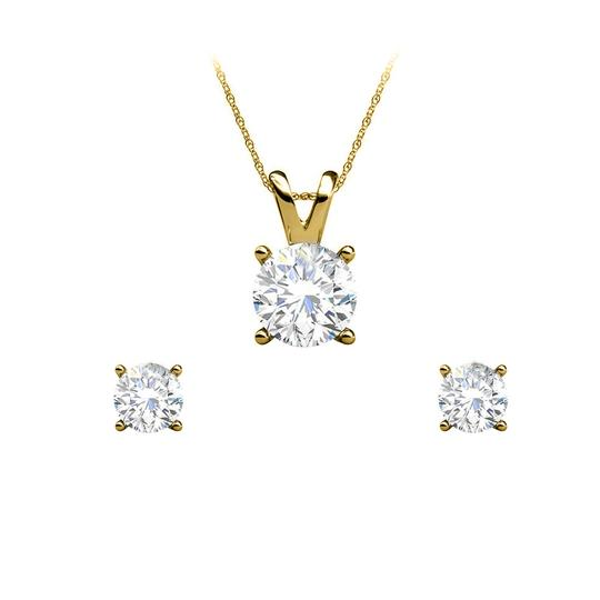 Preload https://img-static.tradesy.com/item/25151414/yellow-sparkle-with-half-carat-real-diamond-earrings-pendant-necklace-0-0-540-540.jpg