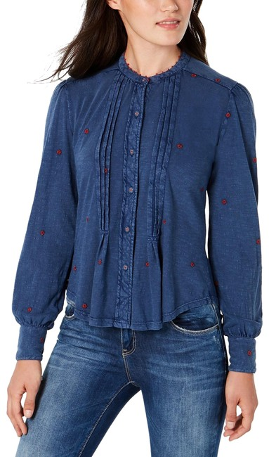 Preload https://img-static.tradesy.com/item/25151421/lucky-brand-navy-cotton-floral-embroidered-pleated-blouse-size-4-s-0-1-650-650.jpg